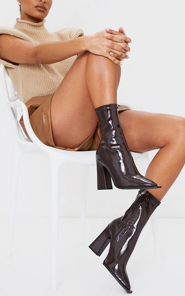 PrettyLittleThing vinyl pu square toe block heel ankle sock boots in chocolate