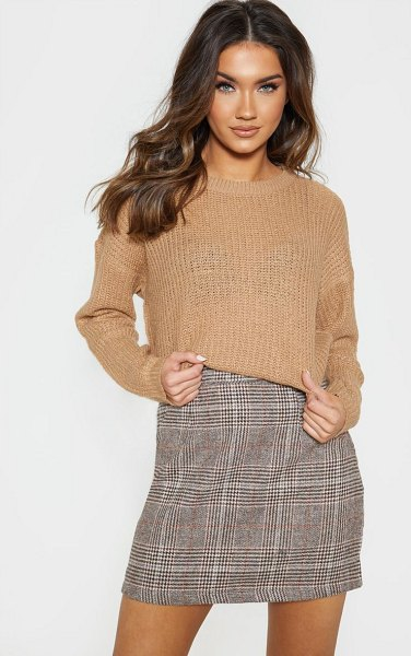 PrettyLittleThing waffle knitted crew neck sweater in camel