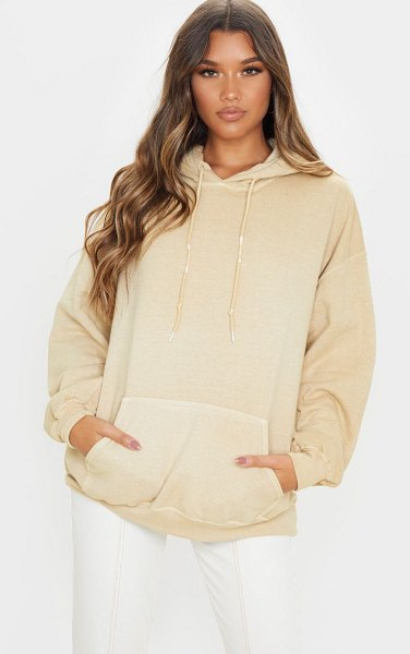 PrettyLittleThing washed ultimate oversized hoodie in fawn
