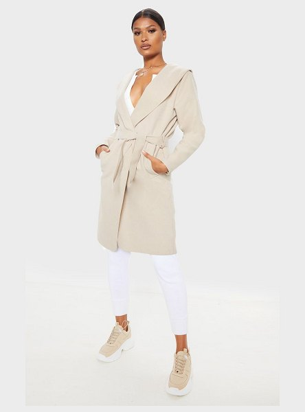 PrettyLittleThing waterfall hooded coat in stone