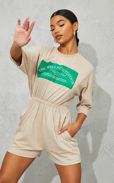 PrettyLittleThing wellness edition t shirt romper in stone