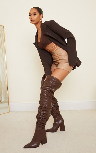 PrettyLittleThing western slouch over the knee boots in chocolate