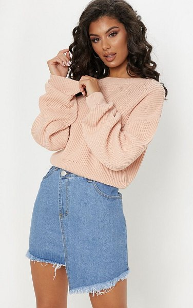 PrettyLittleThing wide sleeve knitted sweater in blush