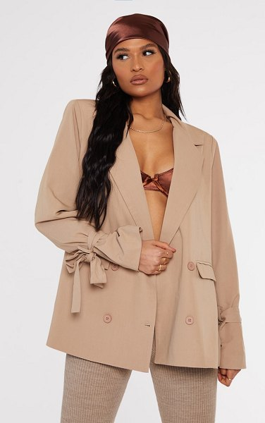 PrettyLittleThing woven arm tie double breasted shoulder padded blazer in stone