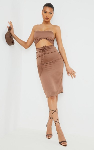 PrettyLittleThing woven bandeau cut out midi dress in chocolate