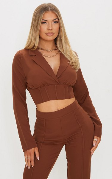 PrettyLittleThing woven corset detail cropped shirt in brown