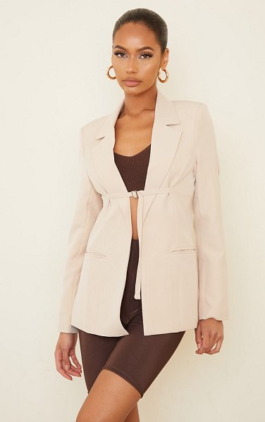 PrettyLittleThing woven fitted buckle fastening blazer in cream