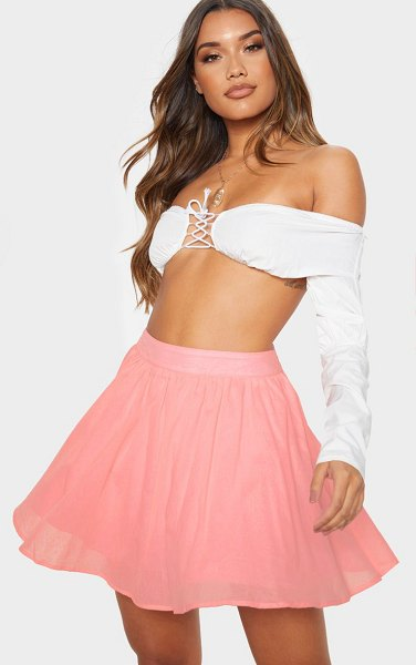 PrettyLittleThing woven full skater skirt in pink
