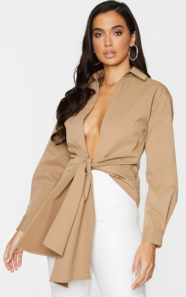 PrettyLittleThing woven ruched tie front plunge shirt in camel
