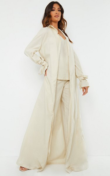 PrettyLittleThing woven tie cuff duster coat in cream