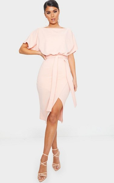 PrettyLittleThing wrap front kimono sleeve midi dress in nude