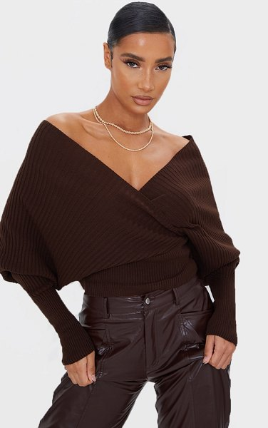 PrettyLittleThing wrap off the shoulder sweater in chocolate