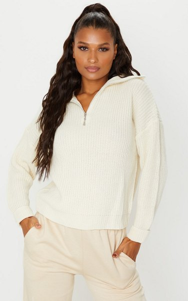 PrettyLittleThing zip through oversized knitted sweater in cream