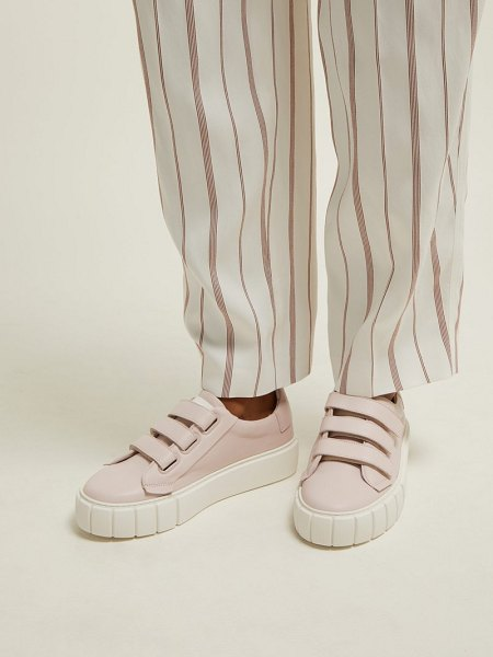 PRIMURY scratch low top leather trainers in pink
