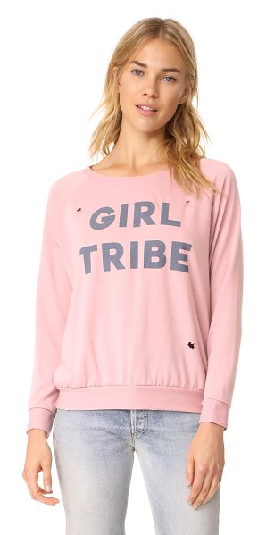 PRINCE PETER girl tribe distressed pullover top in dusty pink - Worn spots lend a favorite-shirt feel to this Prince...