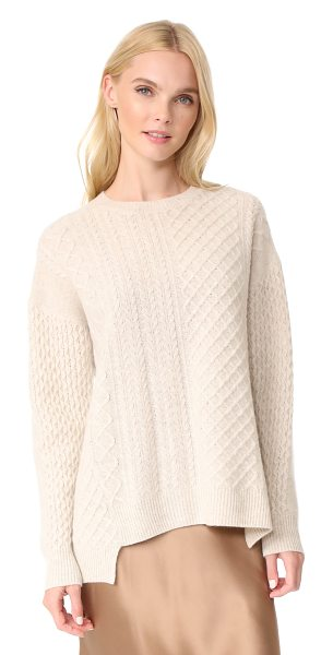 PRINGLE OF SCOTLAND long sleeve asymmetrical sweater in oatmeal - Cable designs lend rich texture to this luxurious...
