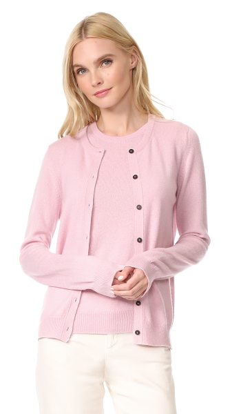 PRINGLE OF SCOTLAND long sleeve cashmere cardigan in pink multi - An elegant Pringle of Scotland cashmere cardigan has a...