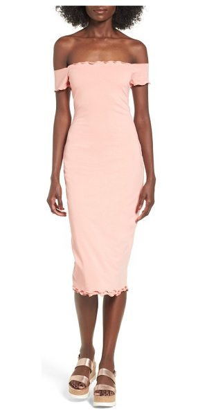 Privacy Please caperton off-the-shoulder midi dress in salmon - Let your shoulders soak up the glow of dusk as your...