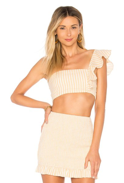 PRIVACY PLEASE Davie Top in peach - Self: 98% cotton 2% polyContrast: 100% viscose. Hand...