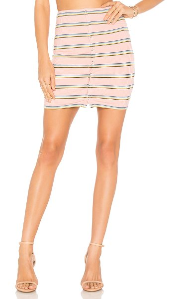 "Privacy Please Hopewell Mini skirt in pink - ""Self: 90% rayon 6% spandex 4% polyLining: 95% poly 5%..."