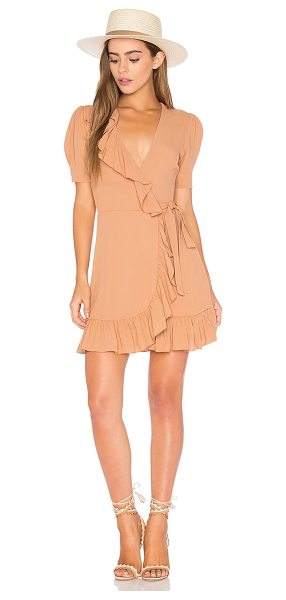 Privacy Please June Dress in brown - Put it in neutral. Ruffles cascade into the mini wrap...