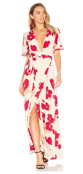Privacy Please Kimono Dress in beige - Be a little daring. Bold blooms contrasted against...
