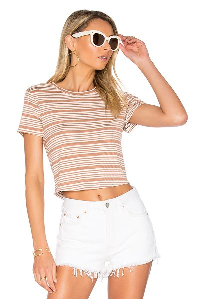 Privacy Please Linton Tee in tan - Sticking to the basics in soft rib knit fabric, the...
