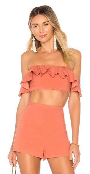 Privacy Please Odessa Top in peach - Self: 55% rayon 15% cottonLining: 100% cotton. Dry clean...
