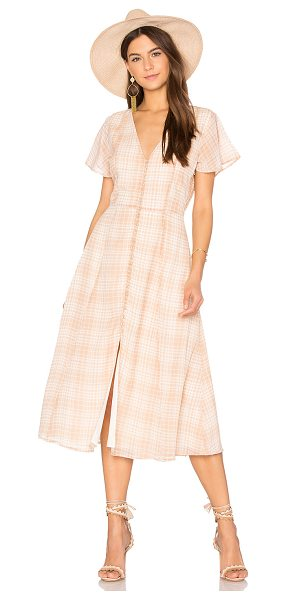 Privacy Please Reed Dress in tan - Dressing up for a prim picnic. Soft neutral plaid...