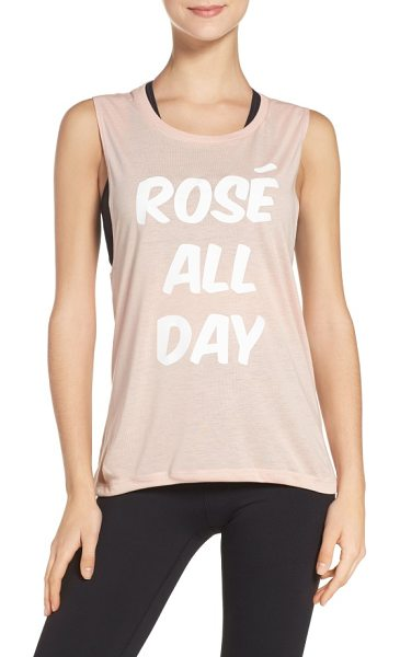 Private Party rose all day jersey muscle tee in peach - A tribute to the best way to spend your day fronts this...