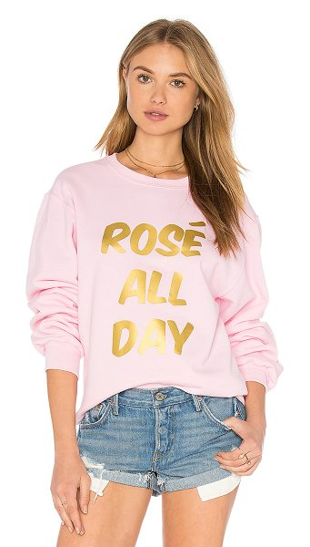 Private Party Rose sweatshirt in pink - 50% cotton 50% poly. Front graphic print. Pill-resistant...
