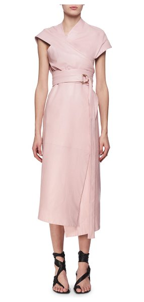 Proenza Schouler Belted Leather Asymmetric Midi Wrap Dress in pink - Proenza Schouler asymmetric dress in plong lambskin...