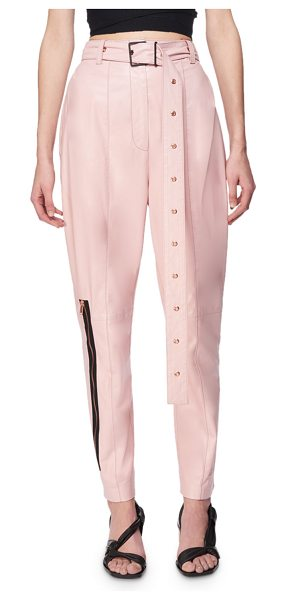 Proenza Schouler Belted Leather Carrot Pants in pink - Proenza Schouler carrot pants in plong lambskin leather....