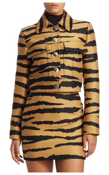 Proenza Schouler cropped tiger print jacket in bronze black tiger