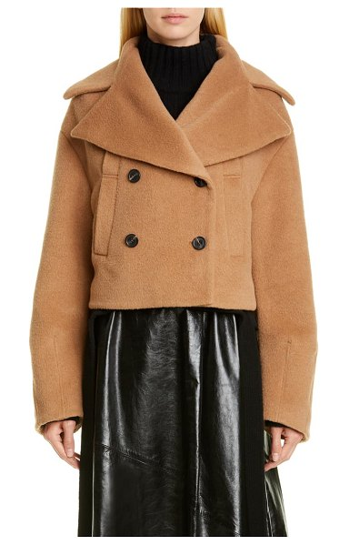 Proenza Schouler double breasted crop coat in brown