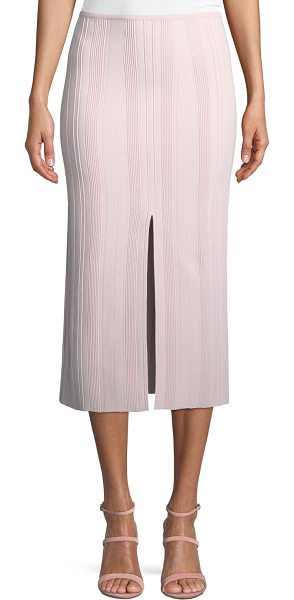Proenza Schouler Double-Slit Ribbed Skirt in pink/white - Proenza Schouler textured rib skirt. Front & back center...