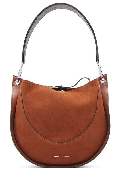 Proenza Schouler arch small suede and leather shoulder bag in brown