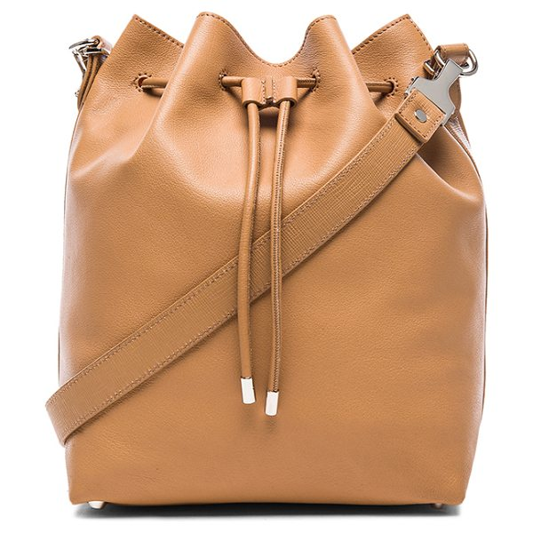 Proenza Schouler Large bucket bag with metallic leather in neutrals - Leather with crinkled metallic leather lining and...