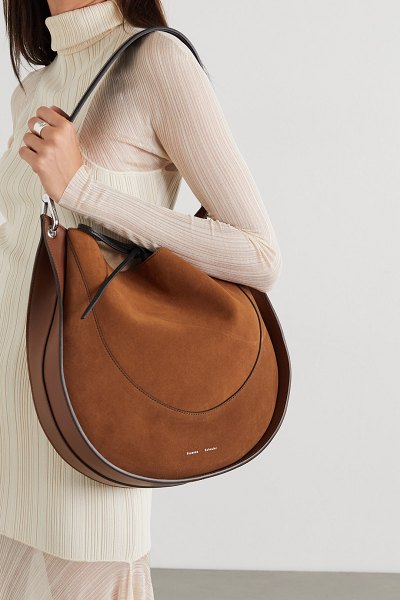Proenza Schouler arch large suede and leather shoulder bag in brown