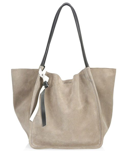 Proenza Schouler large suede tote in dark taupe - Spacious suede tote with removable bag tag. Double...