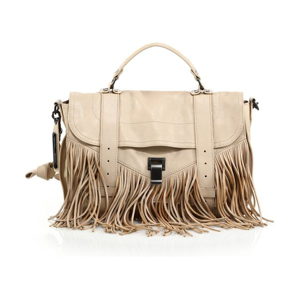 Proenza Schouler Ps1 medium fringe satchel in nude - The classic PS1 with Bohemian appeal: soft cascading...