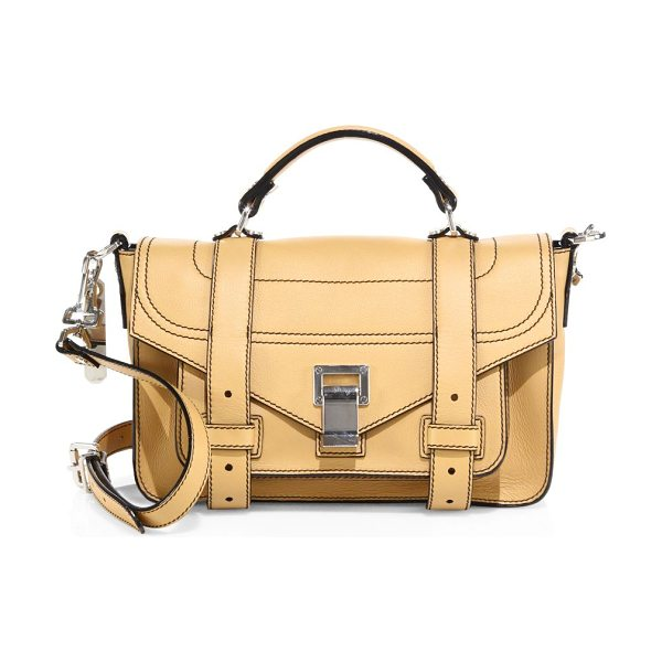 Proenza Schouler ps1+ tiny leather satchel in wheat - Topstitched leather satchel secured with signature...