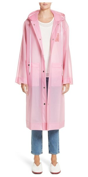 Proenza Schouler pswl graphic raincoat in pink - Streetwise graphics brand a hooded, waterproof anorak...