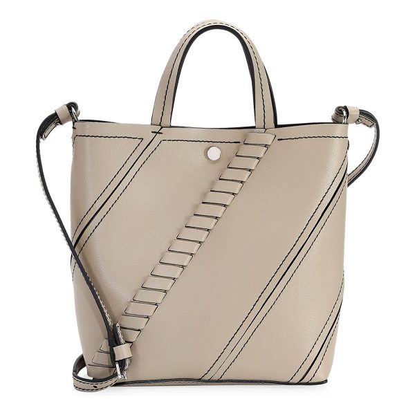 Proenza Schouler small hex leather tote in light taupe - Leather tote with oversized whipstitching. Double...