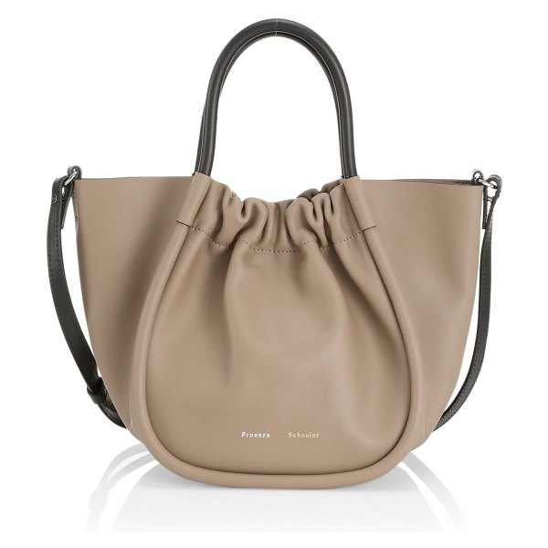 Proenza Schouler small ruched leather tote in light taupe