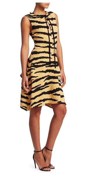 Proenza Schouler tiger-print tiered drawstring dress in tan black tiger - From the Saks IT LIST. ANIMAL INSTINCTS. See spots...