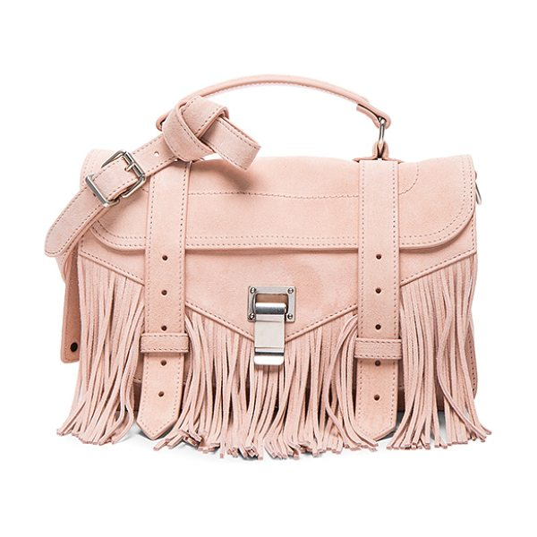 Proenza Schouler Tiny PS1 Fringe Suede in neutrals - Genuine suede with signature jacquard fabric lining and...