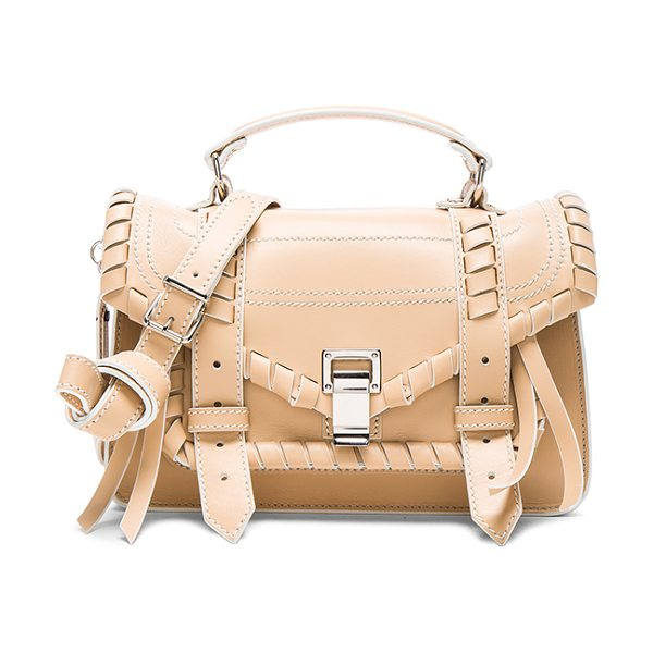 Proenza Schouler Tiny PS1 Whipstitch Leather in neutrals - Genuine leather with leather lining and silver-tone...