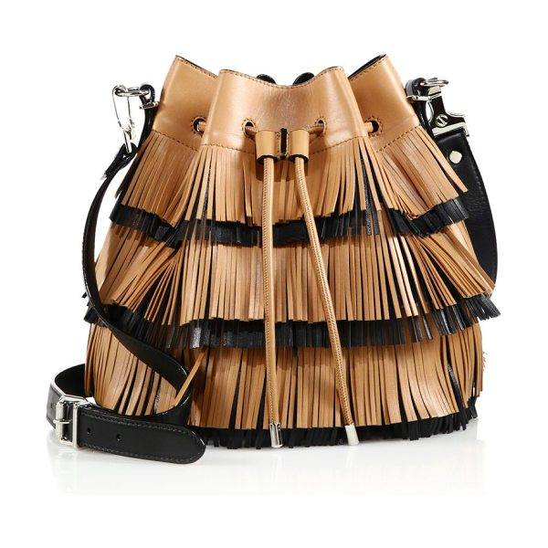 PROENZA SCHOULER Two-tone medium fringed leather bucket bag - On-trend bucket style with two-tone fringe. Removable,...