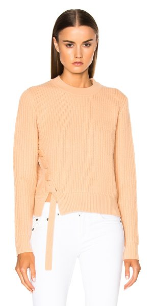 Proenza Schouler Wool Cashmere Side Lacing Sweater in tan - 76% wool 20% cashmere 4% elastan. Made in China. Dry...